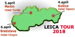 Spoločnosť GEOTECH Bratislava, s.r.o. organizuje od 4. do 6. apríla 2018 v troch slovenských mestách bezplatnú prezentáciu výrobného programu značky Leica Geosystems.