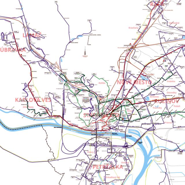 Schéma liniek MHD Bratislava k 1.5.2013, zdroj: imhd.sk