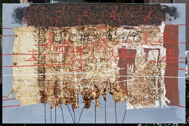 Miroslav Cipár, Sem..., 2013, kombinovaná technika, drevo, 200x300 cm, majetok autora, zdroj: gmb.sk