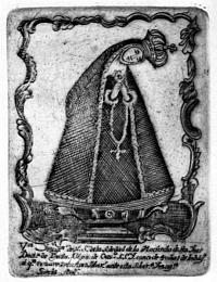 "foto: Madona ""so sklonenou hlavou"", Mexický grafik (?), 18. storočie, zbierka GMB"