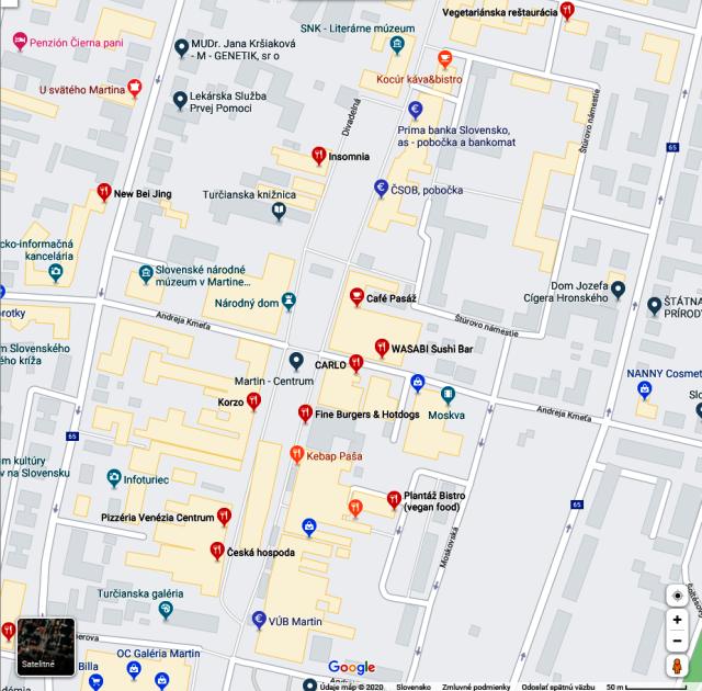 Pozrite si mapu stravovacích zariadení v okolí kina Moskva, zdroj obrázka: maps.google.com