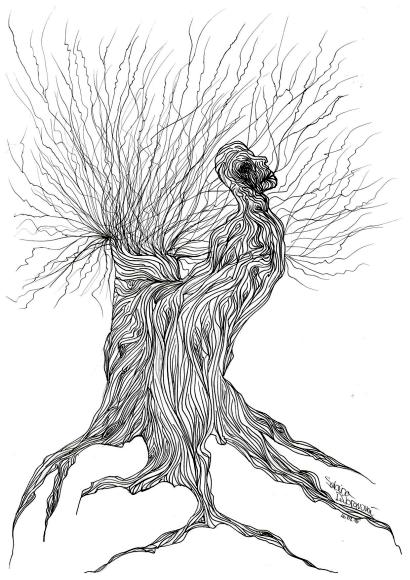 perokresba Sabiny Dúbravovej k básni Cnosť byť stromom