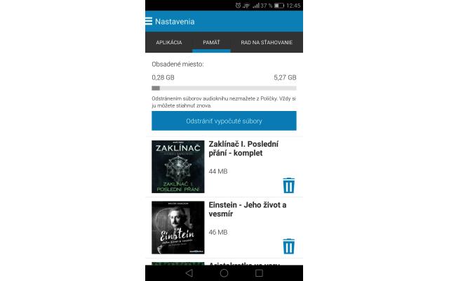 Audiotéka – pamäť a mazanie súborov na Androide, zdroj: audioteka.sk