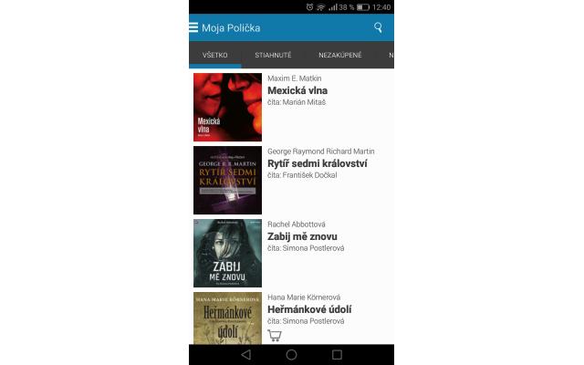 Audiotéka – Polička na Androide, zdroj: audioteka.sk