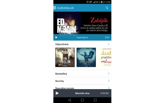 Audiotéka – úvodná stránka v Android aplikácii, zdroj: audioteka.sk