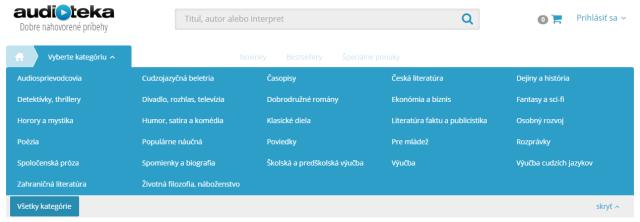 Audiotéka – Kategórie, zdroj: audioteka.sk