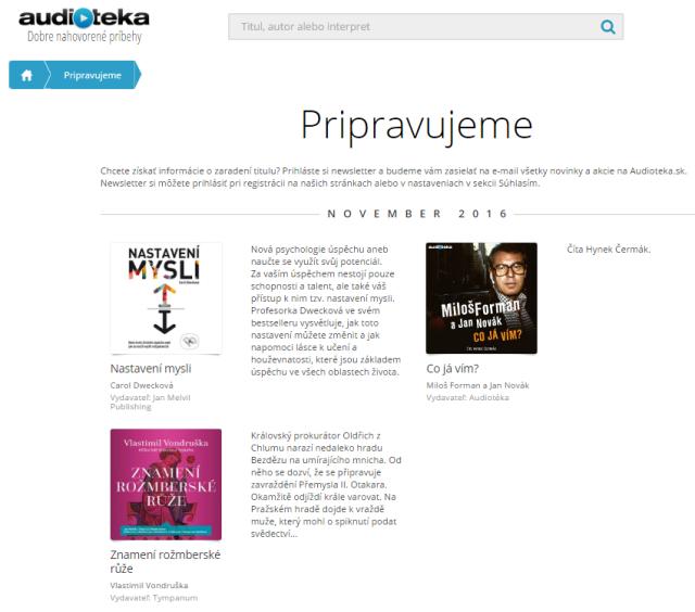 Audiotéka – Pripravujeme, zdroj: audioteka.sk