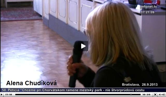 Pozrite si vystúpenie Aleny Chudíkovej (od 17. minúty) na mestskom zastupiteľstve hlavného mesta Slovenskej republiky Bratislavy dňa 26. septembra 2013, zdroj: zastupitelstvo.sk