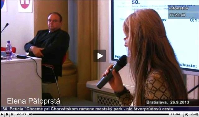 Pozrite si vystúpenie Eleny Pätoprstej na mestskom zastupiteľstve hlavného mesta Slovenskej republiky Bratislavy dňa 26. septembra 2013, zdroj: zastupitelstvo.sk