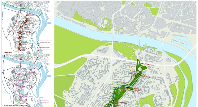 Ukážka z návrhu č. 9 na riešenie územia pri Chorvátskom ramene, zdroj: Magistrát hlavného mesta SR Bratislava