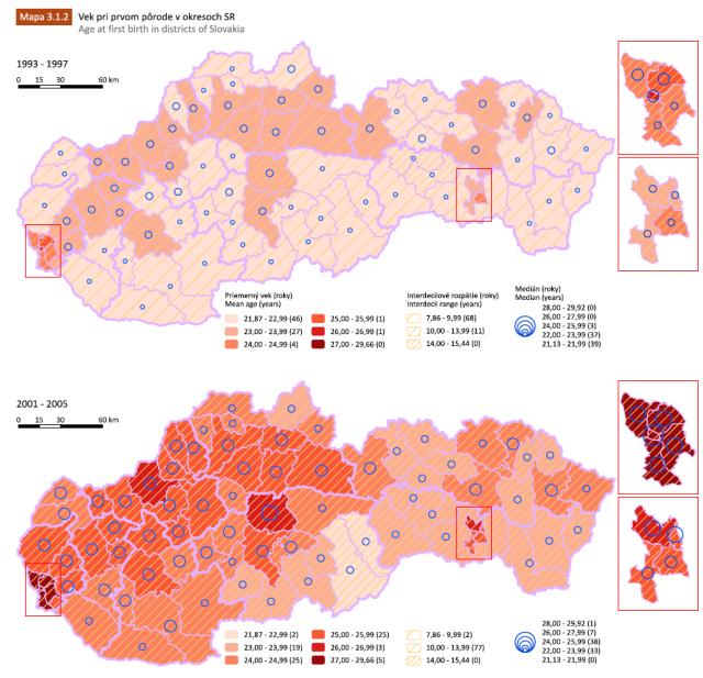 mapa veku pri prvom pôrode v publikácii Demografický atlas Slovenskej republiky, zdroj obrázka: Prírodovedecká fakulta UK v Bratislave