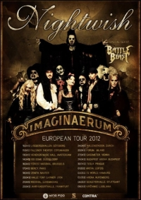 Plagát koncertov hudobnej skupiny Nightwish na European Tour 2012, zdroj: ticketportal.cz