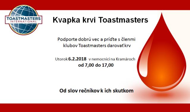 Kvapka krvi Toastmasters – od slov rečníkov k ich skutkom, zdroj obrázka: Toastmasters Petržalka