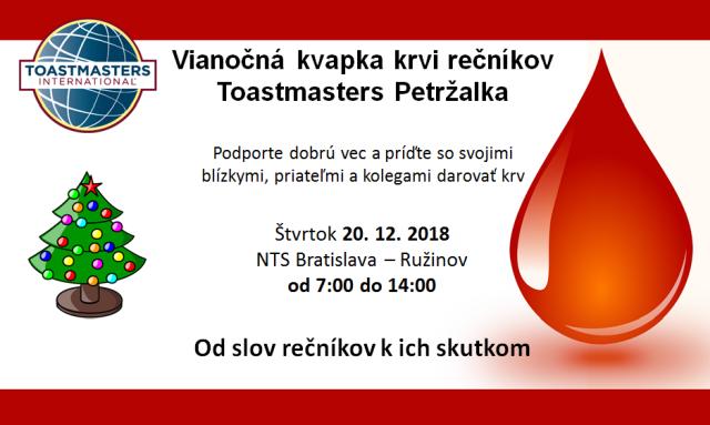 Vianočná kvapka krvi rečníkov Toastmasters Petržalka, zdroj obrázka: Toastmasters Petržalka